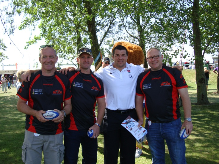 Tim Barber with England flanker Hendrie Fourie, and Tim Ward & Pete Oram