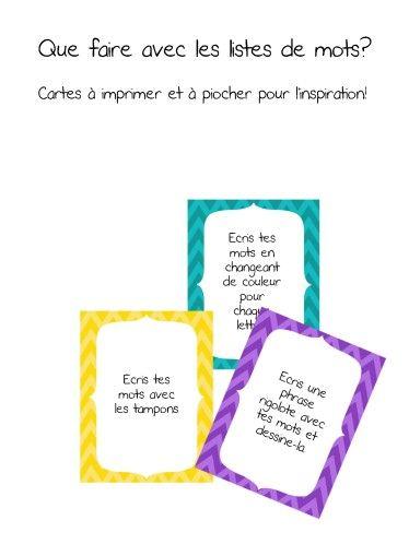 cartes d'activités à choisir pour le centre des mots.