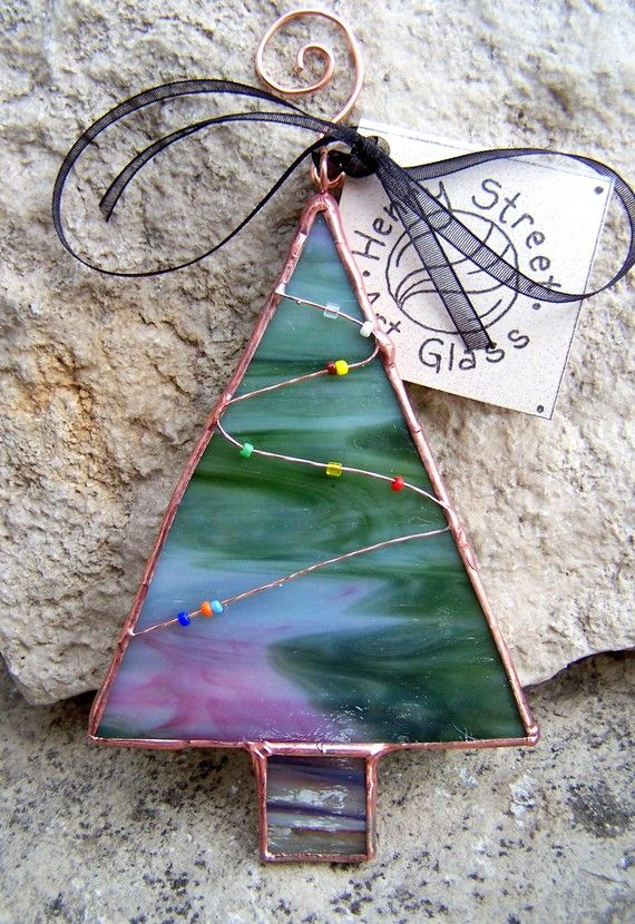 Pink and Green Stained Glass Christmas Tree Ornament