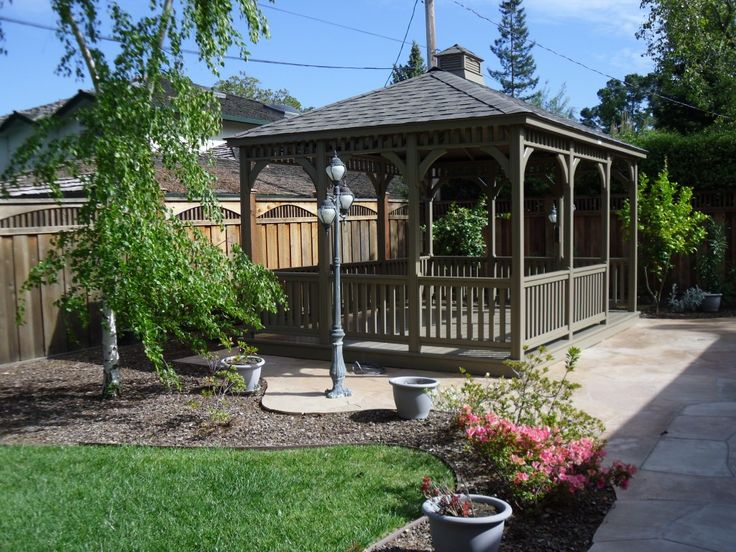 Exterior Diy Gazebo Design With Wood Have Varnished Wicker Sofa Green Cushions Table Chairs And Bench Yellow Legs