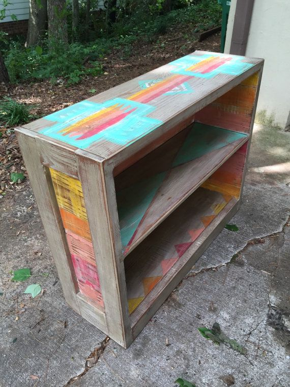 Ombre painted bookshelf warm tones hand painted by BlackSheepMill