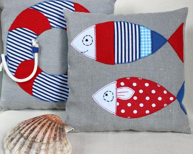 Kissen Sie, Seemann, Babyzimmer Dekoration, rot und blau, Geschenk, Geburt, Zimmer, Kind, Deko-Fische
