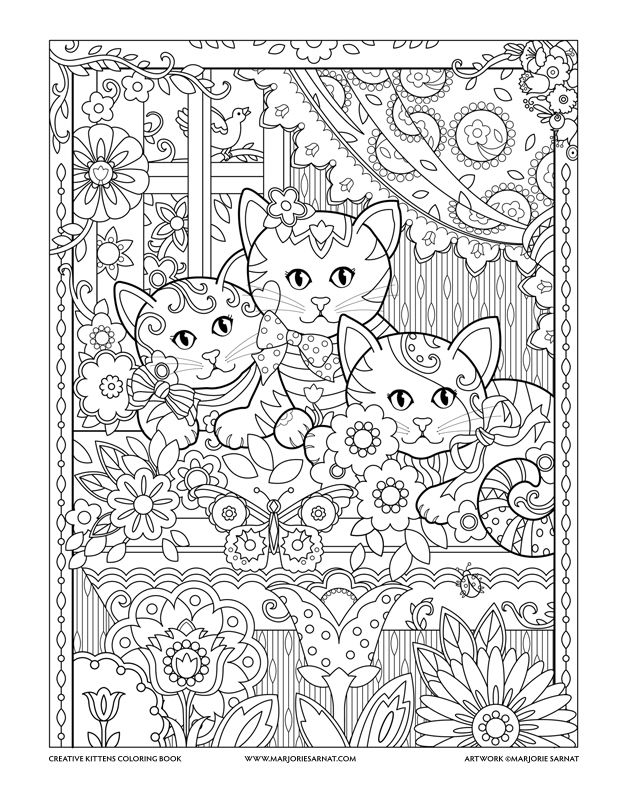 Window Box Creative Kittens Coloring Book by Marjorie