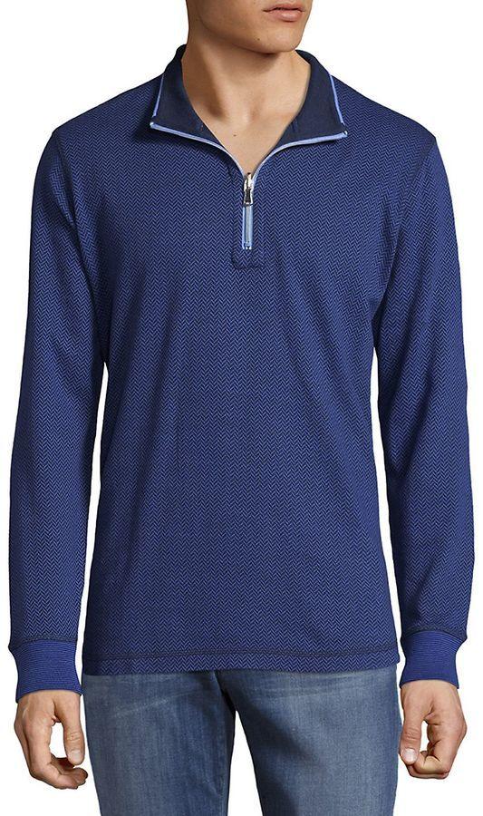 Robert Graham Men's Knit Reverse Cotton Sweater - Blue, Size x-small