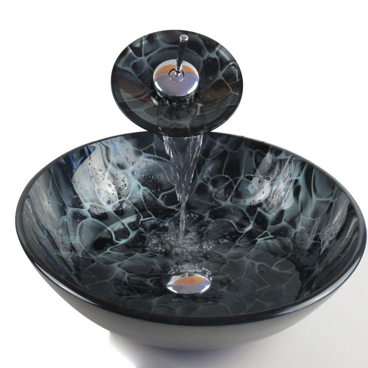 Good Quality Black Vessel Sink Tempered Glass With Faucet