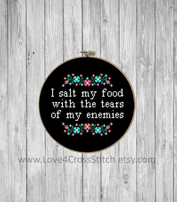 Subversive Cross Stitch Pattern Funny, Kitchen Cross Stitch, Salt