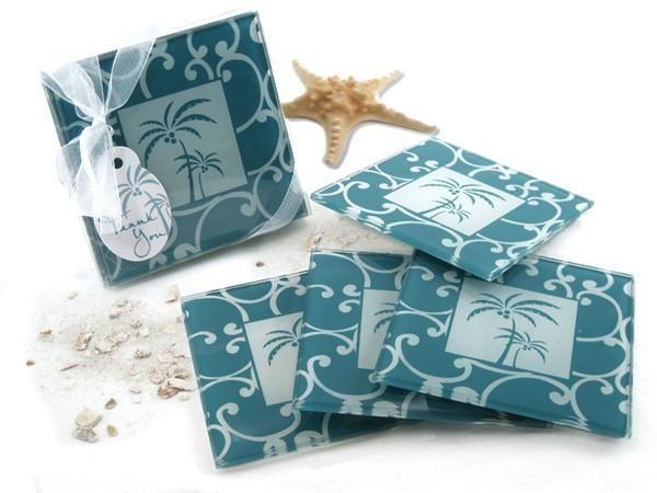 """""""Tropical Breeze"""" Palm Tree Glass Coasters (Set of 4)"""