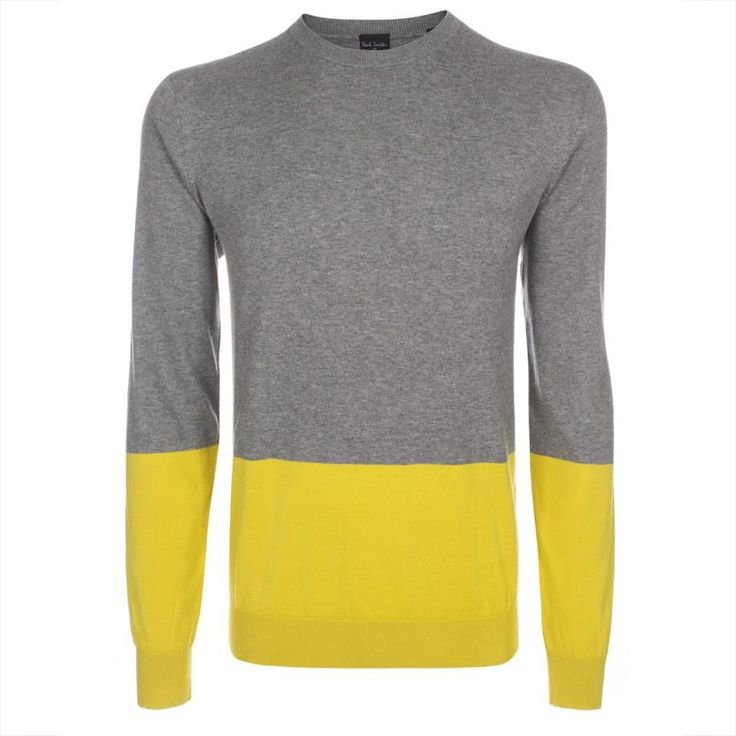 Paul Smith Men's Knitwear | Grey And Yellow Colour-Block Sweater ...