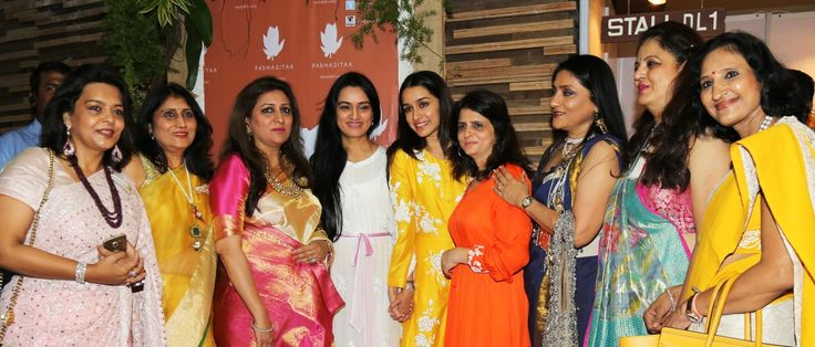 Shalini Piramal (Pink saree), Padmini Kolhapure, Shraddha Kapoor, Sita Talwalkar and other members of the IMC Ladies' Wing at Padmini Kolhapure & Sita Talwalkar's Padmasitaa launch