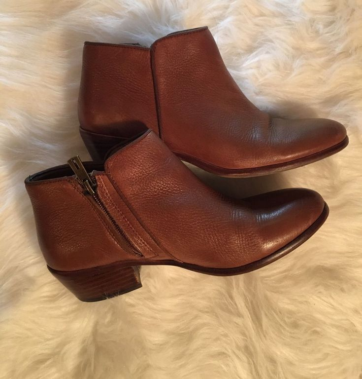 Sam Edelman 'Petty' Brown Leather Ankle Boots