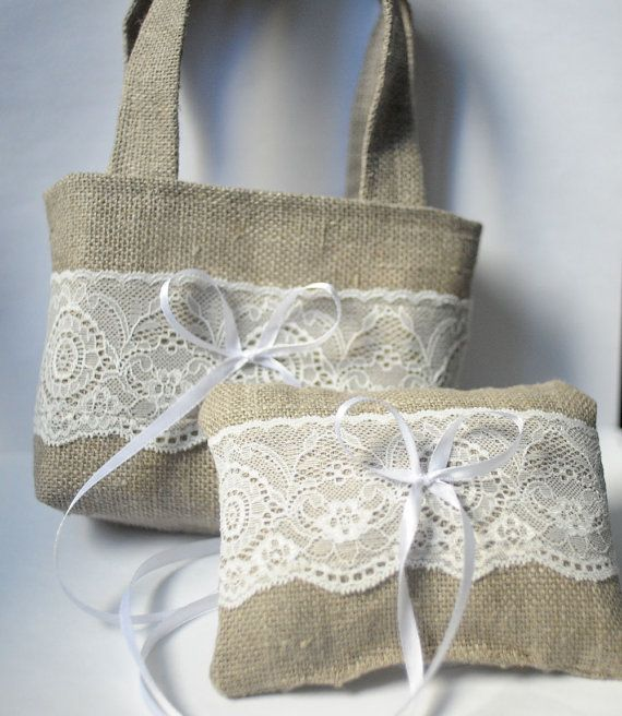 Rustic Wedding Pillow Ring Linen Fabric White by MyGlassLampwork