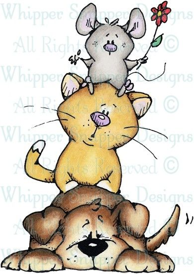Dog, Cat & Mouse - Cats - Animals - Rubber Stamps - Shop