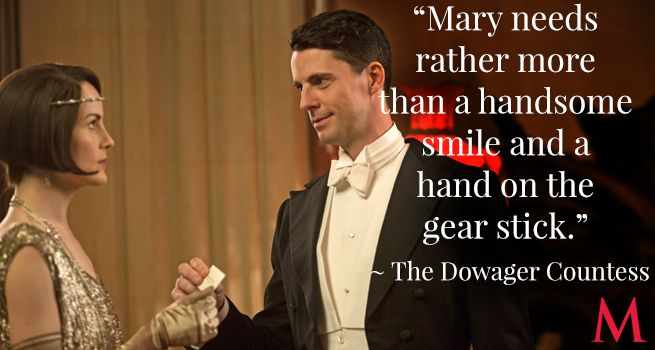 Downton Abbey Season 6 Episode 4 ..Michelle Dockery and Matthew Goode..Violet knows of which she speaks, as we discovered from the revelation of the Kuragin Affair..
