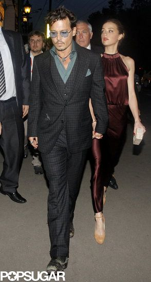 """Johnny Depp and Amber Heard showed PDA when she joined him for dinner after the Moscow premiere of """"The Lone Ranger"""" on June 27,2013"""