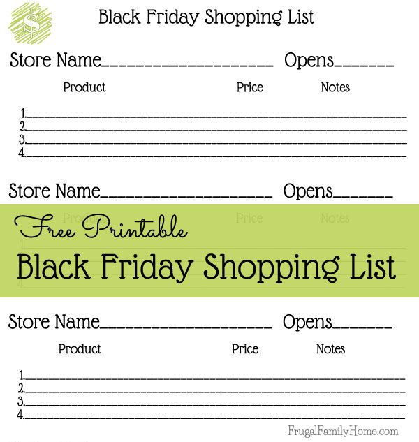 Will you be shopping this Black Friday? If you will, be sure to grab this free shopping list printable and plan your Black Friday shopping.