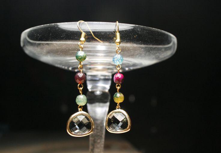 Long Crystal dangle earrings, Grey Crystal drop earrings, Agate earrings, crystal gold dangle earrings, crystal gold drop earrings, for her by SanguineJewelry on Etsy