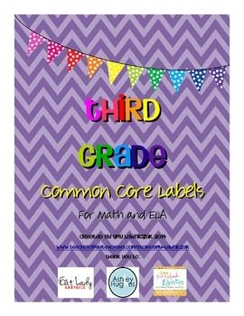 Common Core Labels for Third Grade - all third grade math and ELA standards ready to print on 2x4 labels for easy planning and organizing!  **UPDATED**