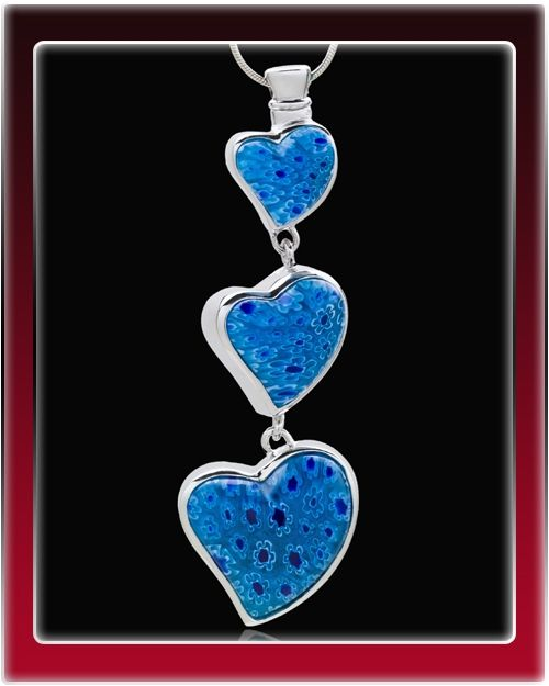 Blue Statuesque Hearts Cremation Jewelry $39.99