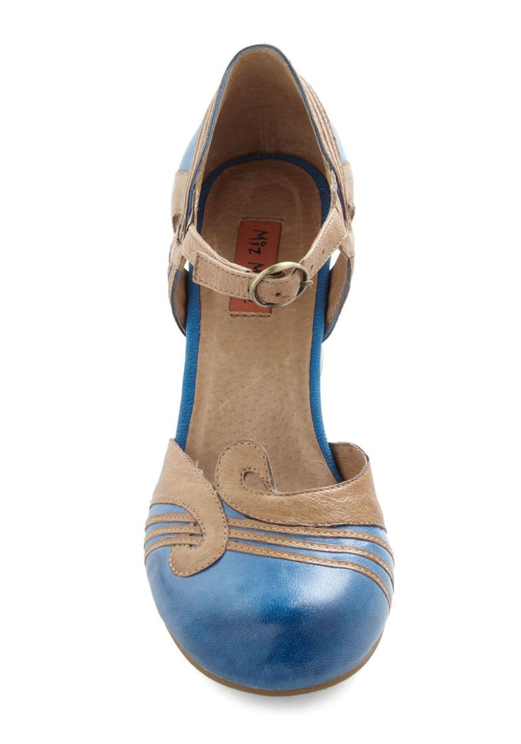 Loop the Part Heel - Blue, Tan / Cream, Solid, Mid, Chunky heel, Leather, Vintage Inspired, 20s