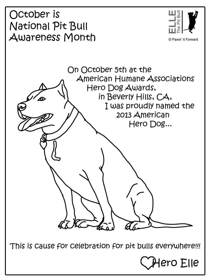 October Is Pit Bull Awareness Month Free Printable Coloring Page