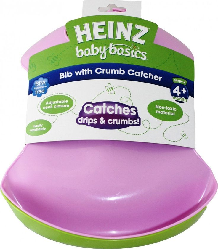 The Heinz Baby Basics Bib with Crumb Catcher is a BPA-free, non-toxic hard wearing bib with a specially designed in-built pocket that catches crumbs, drips, spills and other mess!