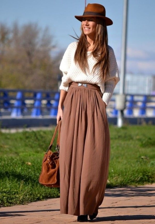 Beautiful Maxi Skirt For This Fall apparel fashion clothing women outfit style brown hat shirt white handbag