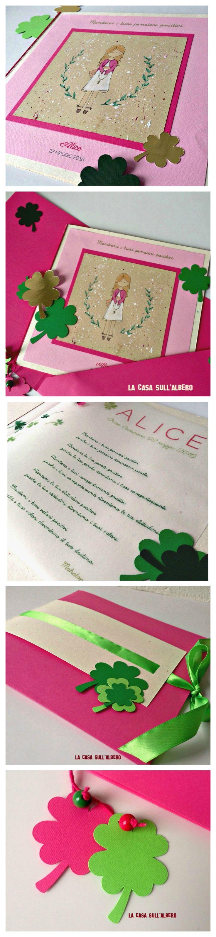 Auguri ad Alice, nel giorno della sua Prima Comunione. #cards #auguripersonalizzati #happygirl #handmadewithcare #fattoamano #madeinitaly #quadrifoglio #primacomunione #pensieripositivi #evento