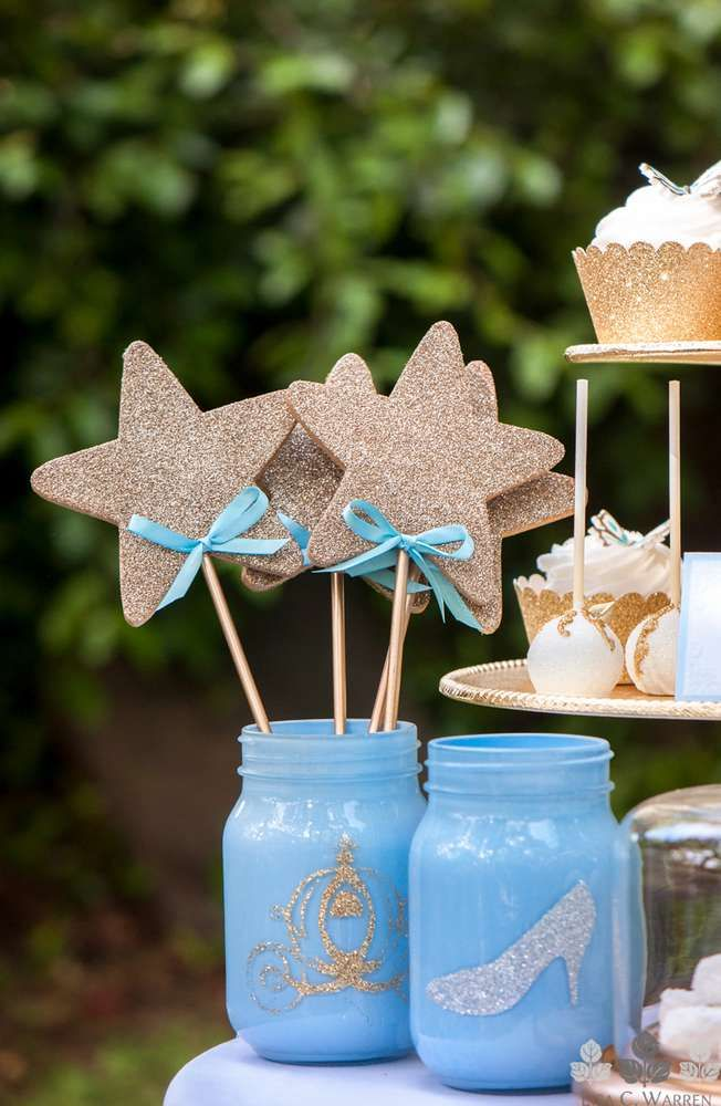 Star wands at a Cinderella birthday party! See more party ideas at CatchMyParty.com!