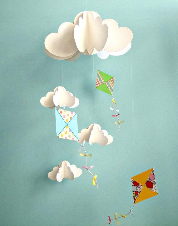 Cloud mobile with kites!  By goshandgolly on Etsy (http://www.etsy.com/shop/goshandgolly)