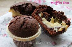 Muffin Nua : Muffin al Cioccolato Ripieni di Crema: semplici e golosi.Farciti con deliziosa crema pasticcera come la torta Nua. Ideali a colazione,a merenda