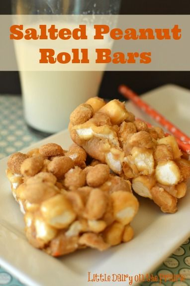 Salted Nut Roll Bars. Really easy and addicting no bake bar! - Little Dairy on the Prairie