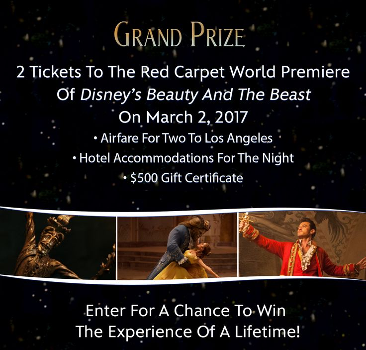 #GrandPrize! Enter the #sweepstakes, 2 #tickets to the #LA #RedCarpet #WorldPremiere of @Disney #BeautyAndTheBeast #FilmScreening! #BeOurGuest™ http://www.disneymovierewards.go.com/promotions/sweepstakes/BeautyandtheBeastSweeps?cmp=DMR|SITE|BeOurGuest|SWPB|BeautyandtheBeast|Ad|EnterSweepstakes|2017|Jan @disneyanimation @disneystudios  @mandfilms #BeautyAndTheBeastMovie © #Disney #EmmaWatson #Hollywood  #MandevilleFilms #Movie #Promotion #VIP…