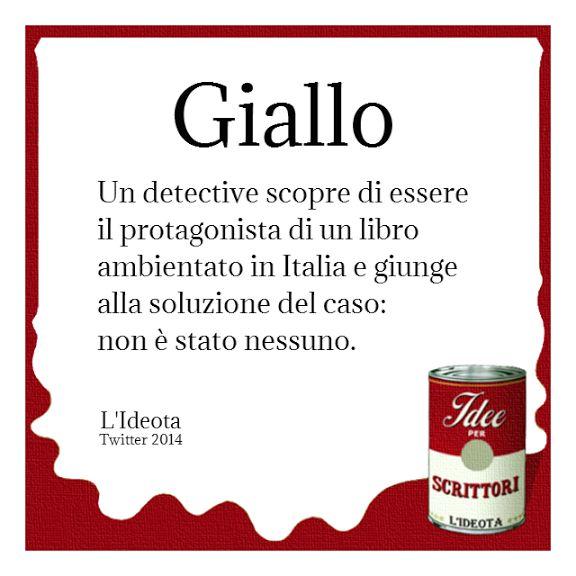 Giallo. Un detective scopre di essere il protagonista di un romanzo ambientato in Italia e giunge alla soluzione del caso: non è stato nessuno.
