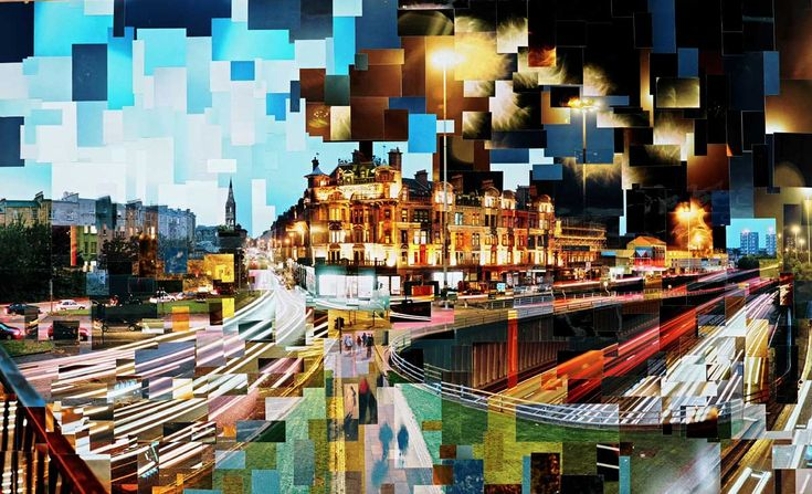 "Adrian Brannan, contemporary artist who creates photo collage focusing on cityscapes. Adrian has chosen to use traditional optical photography and manual 'cut and paste' collaging techniques in the pursuit of what he has described as a ""more truthful and unclouded representation"" of his subject matter. Each work can be made up from as little as fifty, to as many as one thousand individual 35mm film photographs."