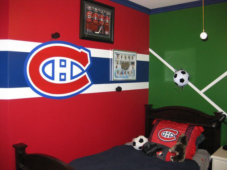 Meubles, design, réparations, peinture - réalisations par Finibec. Canadiens. Habs. Soccer. Garcon. Chambre. Boys. Room.