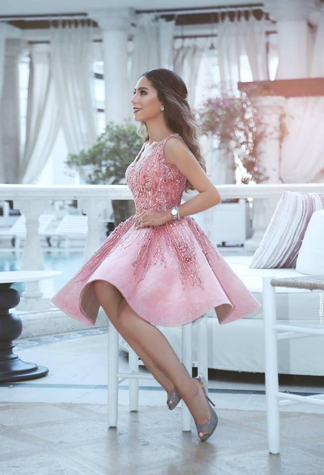 Rosa cocktailkleid Kurz A Linie Perlen Festliche Kleider Abendkleider 87a55bdab3