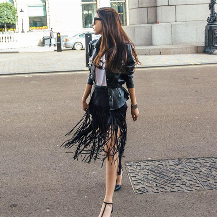 S-xxl Hot Sale 2015 New outono inverno moda selvagem Retro camurça franjada de cintura alta saias das mulheres Saia mulheres Saia borla Faldas alishoppbrasil
