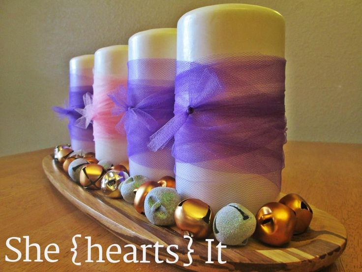 advent candle idea. Big candles on the mantle!
