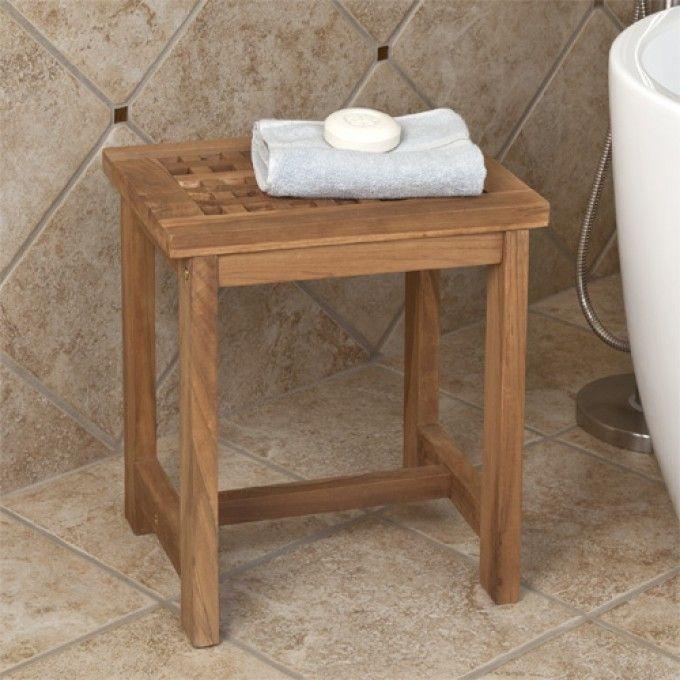 teak honeycomb shower stool
