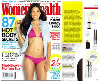"""Women's Health Magazine. Page 152 of September 2013 issue featured Dr. Vincent Giampapa, Jeunesse Global's medical adviser, an aesthetic plastic and reconstructive surgeon.   Page 155 featured the LUMINESCE™ Cellular Rejuvenation Serum with a tag """"Stem cell derived skincare stimulates the body's natural ability to replenish moisture and rejuvenate skin""""."""