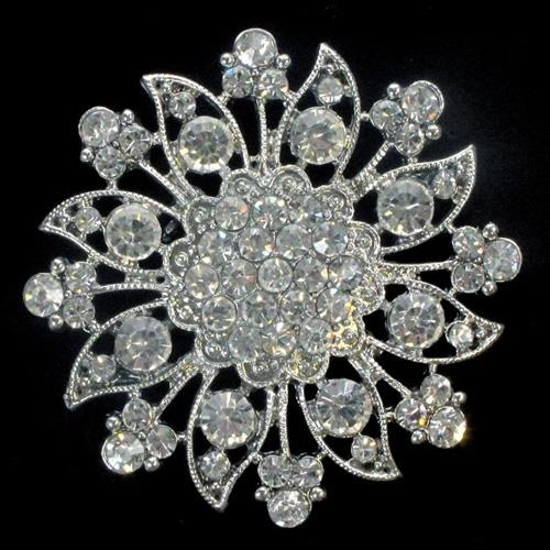 Mustique Diamante Brooch Crystals Rhinestone Floral Wedding Decoration Invitations Accessories Jewellery Hairpiece Napkin Holder Chair Back Bridal