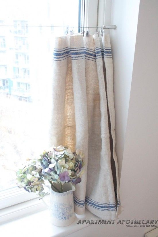 Vintage linen grain sack cafe-style curtain - like how they are hung - no visually heavy bar in the way when they are pulled back - my kitchen