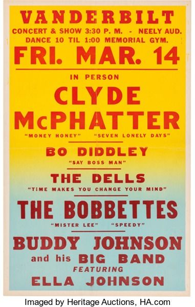 Music Memorabilia:Posters, Clyde McPatter/Bo Diddley Vanderbilt Neely Auditorium ConcertPoster (1958). Extremely Rare....