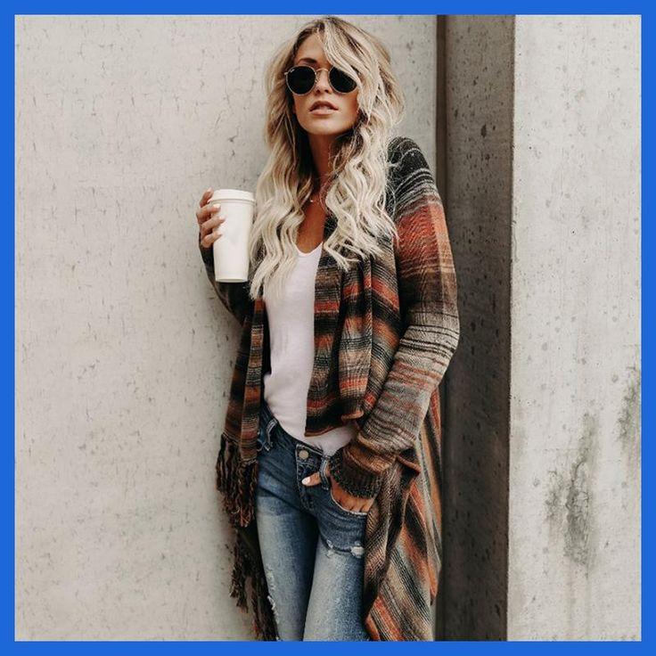 Autumn Winter Fashion Women Jacket Coat Vintage Stripped Long Sleeve Tassel Coat Outwear WS4250M