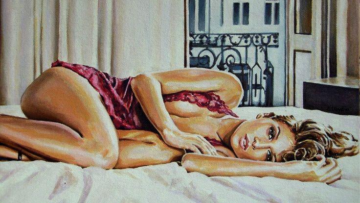 губы, лицо, взгляд, девушка, живопись, кровать, макияж
