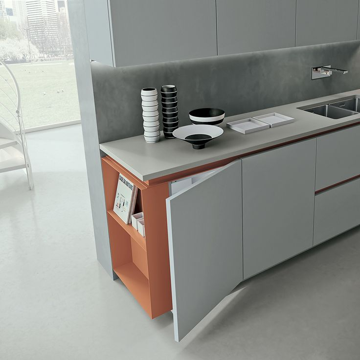 Sand Fine Grey laquered doors. Sand Orange varnished grooves and open units. Silestone Kensho worktop in Suede Leather finish. #ArritalCucine #Kculture #modern #kitchen #Ak05