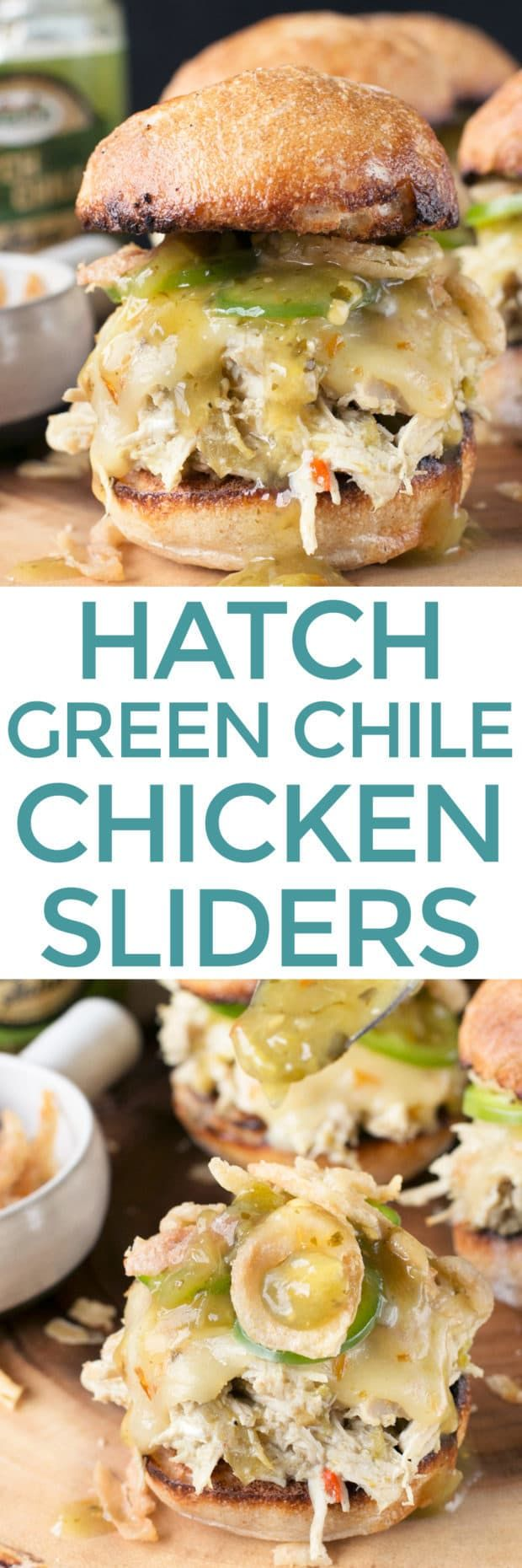Tailgating season is just around the corner and I'm getting ready with all the spicy things! Hatch Green Chile Chicken Sliders are juicy, spicy mini sandwiches of heaven that are simply irresistible. Hatch Green Chile Chicken Sliders | cakenknife.com @sprouts #tailgating #sandwich #recipe