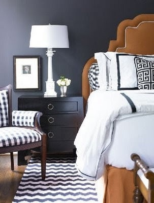 navy blue room, camel colored headboard