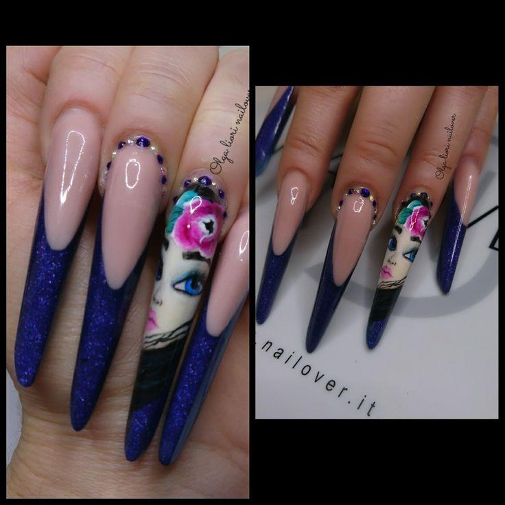 Nails russian almond face nail art