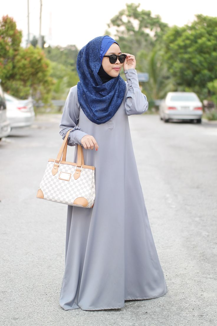 Simple grey Abaya with blue headscarf and sunglasses